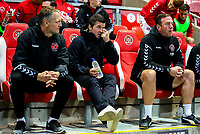 Fleetwood Town manager Joey Barton takes his seat on the bench<br /> <br /> Photographer Alex Dodd/CameraSport<br /> <br /> The EFL Checkatrade Trophy - Northern Group B - Fleetwood Town v Leicester City U21 - Tuesday September 11th 2018 - Highbury Stadium - Fleetwood<br />  <br /> World Copyright &copy; 2018 CameraSport. All rights reserved. 43 Linden Ave. Countesthorpe. Leicester. England. LE8 5PG - Tel: +44 (0) 116 277 4147 - admin@camerasport.com - www.camerasport.com