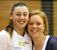 Otago coach Lauren Piebenga, right, and captain Gina Crampton celebrate winning the Lion Foundation Netball Championship final match, day five, MoreFM Arena, Dunedin, New Zealand, Friday, October 04, 2013. Credit: Dianne Manson/©MBPHOTO /Michael Bradley Photography.