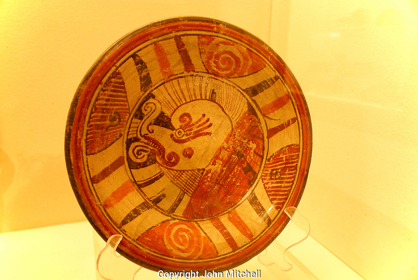 Pre-Hispanic ceramic plate in the archaeological museum in Cholula, Puebla, Mexico. Cholula is a UNESCO World Heritage Site.