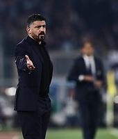 11th January 2020; Stadio Olympico, Rome, Italy; Serie A Football, Lazio versus Napoli; Gennaro Gattuso coach of Napoli - Editorial Use