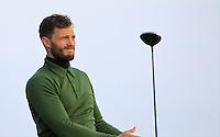 Jamie Dornan (AM) on the 12th tee during Round 3 of the 2015 Alfred Dunhill Links Championship at Kingsbarns in Scotland on 3/10/15.<br /> Picture: Thos Caffrey | Golffile