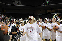 March 14, 2010.  Mikaela Ruef receives her game ball after the Stanford Cardinal beat the UCLA Bruins to win the 2010 Pac-10 Tournament.