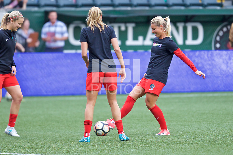Portland, OR - Saturday June 17, 2017: Amandine Henry, Lindsey Horan during a regular season National Women's Soccer League (NWSL) match between the Portland Thorns FC and Sky Blue FC at Providence Park.