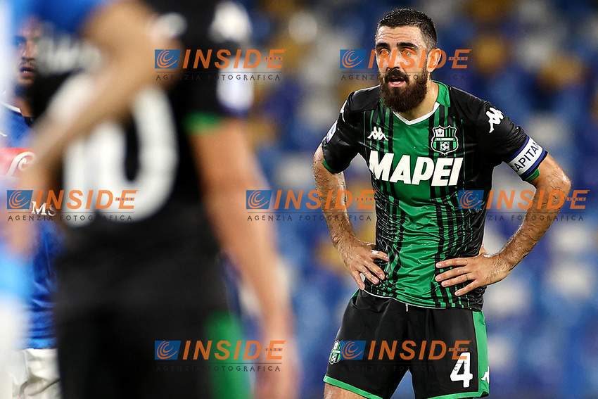Francesco Magnanelli of US Sassuolo reacts during the Serie A football match between SSC Napoli and US Sassuolo at stadio San Paolo in Napoli ( Italy ), July 25th, 2020. Play resumes behind closed doors following the outbreak of the coronavirus disease. <br /> Photo Cesare Purini / Insidefoto