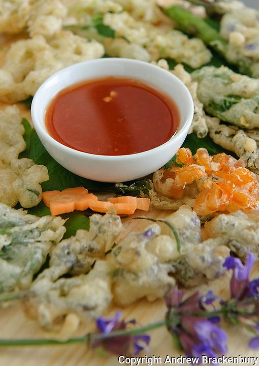 Garden herb tempura prepared using local ingredients by Thai chef Tukata Bird in the village of Ryhall, Rutland, near Stamford, Lincolnshire