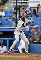 Philadelphia Phillies outfielder Domonic Brown (9) at bat while on rehab assignment with the Clearwater Threshers during a game against the Dunedin Blue Jays on April 10, 2015 at Florida Auto Exchange Stadium in Dunedin, Florida.  Clearwater defeated Dunedin 2-0.  (Mike Janes/Four Seam Images)