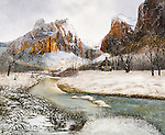 "A Mormon pioneer homestead in scenic winter snow and sunlight in the late 1800's, present day Zion National Park, Utah. Oil on canvas: 32"" x 39""."
