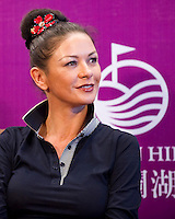 HAIKOU, CHINA - OCTOBER 28:  Oscar-winning actress Catherine Zeta-Jones attends a press conference during the Mission Hills Star Trophy on October 28, 2010 in Haikou, China. The Mission Hills Star Trophy is Asia's leading leisure liflestyle event and features Hollywood celebrities and international golf stars.  Photo by Victor Fraile / studioEAST