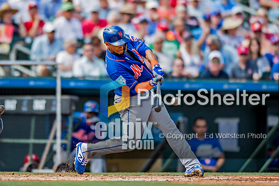 28 February 2019: New York Mets outfielder Juan Lagares singles in the 4th inning of a Spring Training game against the St. Louis Cardinals at Roger Dean Stadium in Jupiter, Florida. The Mets defeated the Cardinals 3-2 in Grapefruit League play. Mandatory Credit: Ed Wolfstein Photo *** RAW (NEF) Image File Available ***