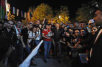 Emin Agalarov, the son-in-law of Azerbaijan's President Ilham Aliyev and the nation's top male pop star, poses for a photograph with his fans after a performance on the Caspian seaside Bulvar at the Eurovsion Song Contest Fan Club concert on April 29, 2012.  Agalarov is married to Leyla Aliyeva, the eldest daughter of Azerbaijani President Ilham Aliyev who holds many hats in her own right, among them head of the Heydar Aliyev Foundation in Russia, editor of Baku Magazine, artist, and poet and Agalarov's father, Aras Agalarov, is a Russian billionaire oligarch of Azerbaijani origin in the retail and real estate development sectors, being the first to bring foreign luxury fashion brands to Russia after the collapse of communism and opening several gaudy malls and arenas in Moscow and elsewhere in Russia.
