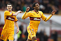 MOTHERWELL'S OMAR DALEY CELEBRATES AFTER HE  SCORES MOTHERWELL'S FIRST GOAL..07/01/2012 sct_jsp004_motherwell_v_queens_park     .Copyright  Pic : James Stewart.James Stewart Photography 19 Carronlea Drive, Falkirk. FK2 8DN      Vat Reg No. 607 6932 25.Telephone      : +44 (0)1324 570291 .Mobile              : +44 (0)7721 416997.E-mail  :  jim@jspa.co.uk.If you require further information then contact Jim Stewart on any of the numbers above.........