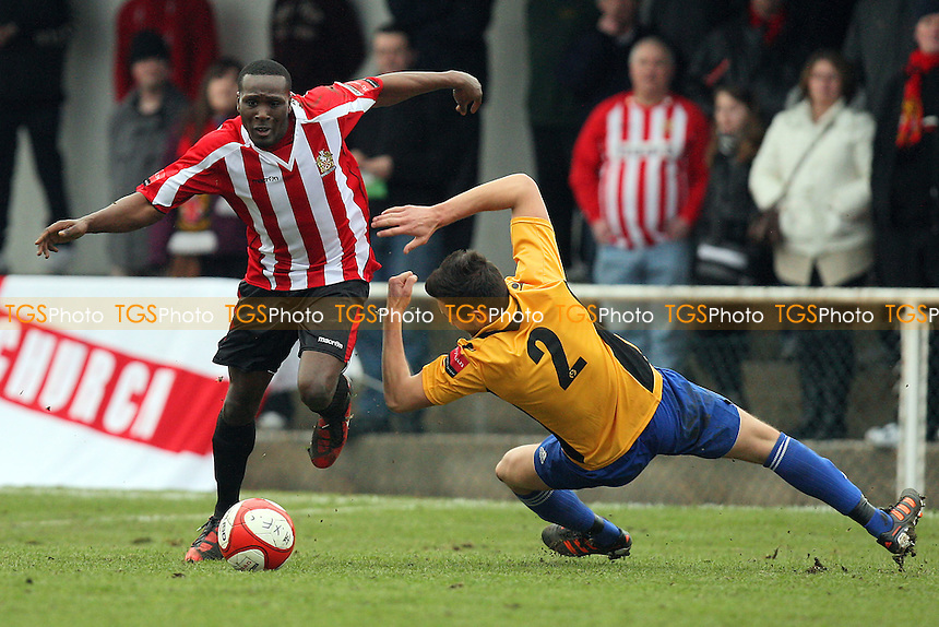 Fola Orilonishe in action for Hornchurch - AFC Hornchurch vs Cray Wanderers - Ryman League Premier Division Football at the Stadium - 17/03/12 - MANDATORY CREDIT: Gavin Ellis/TGSPHOTO - Self billing applies where appropriate - 0845 094 6026 - contact@tgsphoto.co.uk - NO UNPAID USE.