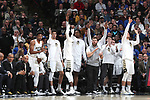 WINSTON-SALEM, NC - JANUARY 23: Wake Forest players on the bench react to a three point basket. The Wake Forest University Demon Deacons hosted the Duke University Blue Devils on January 23, 2018 at Lawrence Joel Veterans Memorial Coliseum in Winston-Salem, NC in a Division I men's college basketball game. Duke won the game 84-70.