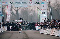 Wout van Aert (BEL/Crelan-Charles) 'flying' towards his 3rd consecutive Belgian National Elite Title<br /> <br /> Elite Men's Race<br /> Belgian National CX Championships / Koksijde 2018