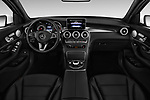 Stock photo of straight dashboard view of a 2018 Mercedes Benz GLC-Class 300 5 Door SUV