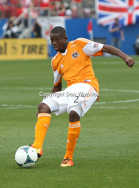 Houston Dynamo midfielder Boniek Garcia (27) in action during the game between the FC Dallas and the Houston Dynamo at the FC Dallas Stadium in Frisco,Texas.