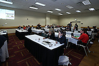 INDIANAPOLIS, IN - January 18, 2013: The draft room immediately before the start of the draft. The National Women's Soccer League held its college draft at the Indiana Convention Center in Indianapolis, Indiana during the NSCAA Annual Convention.