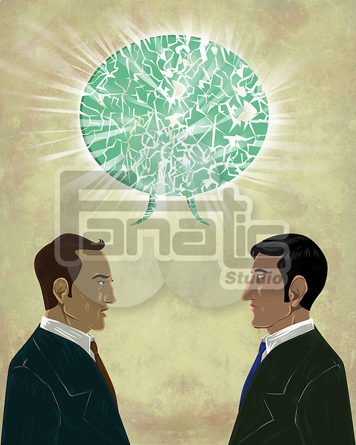 Illustrative image of businessmen with talk bubble representing miscommunication