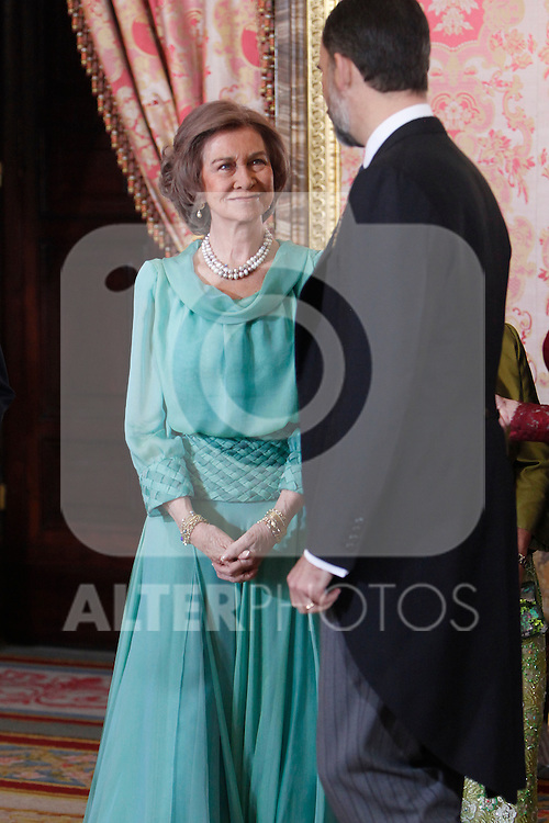 Queen Sofia of Spain attends the reception of the diplomatic corps in Spain at Palacio Real. January 23, 2013. (ALTERPHOTOS/Caro Marin)