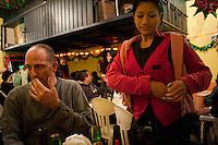 A Waitress at La Yarda bar near plaza Garibaldi on Eje 1. Night bicycle rides rides with Kurt Adrian and Mike.  Alamenda, teatro Blanquita, Garibaldi, Tlaltelolco.  Mexico City.