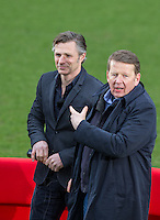 Bill Turnbull asks for a photo with Manager Gareth Ainsworth During BBC Breakfast as they air their live broadcast on Tuesday morning, presented by Bill Turnbull for his penultimate appearance on the programme at Adams Park, High Wycombe, England on 23 February 2016. Photo by Andy Rowland.