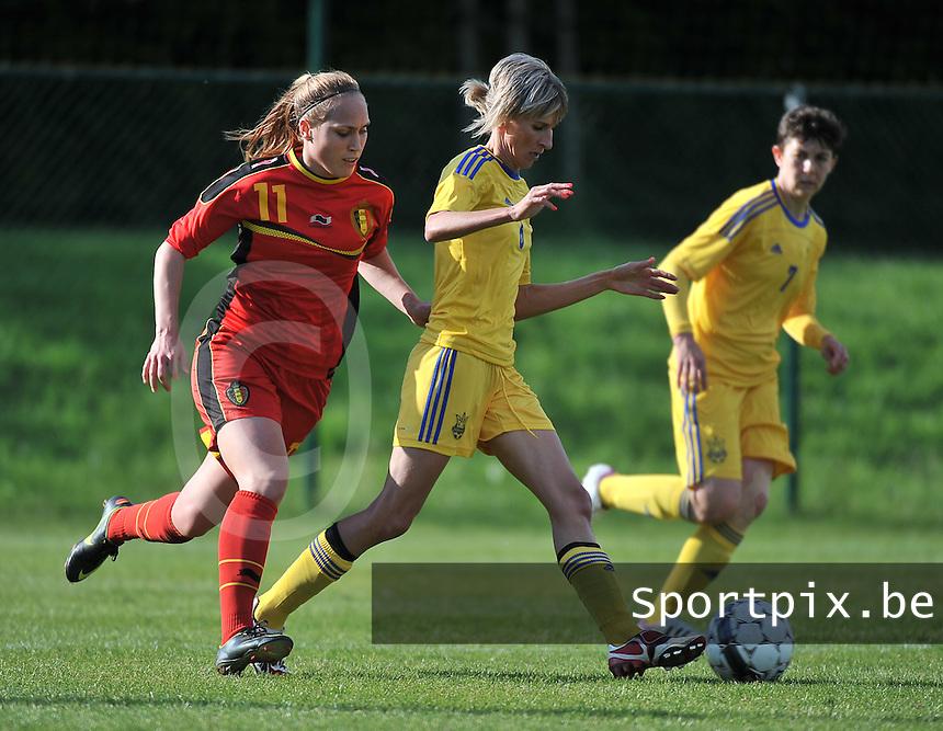 Belgium - Ukraine : Lyudmyla Pekur (6) aan de bal voor Janice Cayman (11)<br /> foto DAVID CATRY / Nikonpro.be