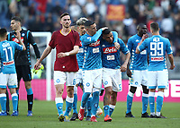 Football, Serie A: AS Roma - SSC Napoli, Olympic stadium, Rome, March 31, 2019. <br /> Napoli's players celebrate after winning 4-1the Italian Serie A football match between Roma and Napoli at Olympic stadium in Rome, on March 31, 2019.<br /> UPDATE IMAGES PRESS/Isabella Bonotto