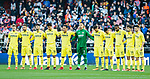Villarreal CF players form a line prior to the La Liga 2017-18 match between Valencia CF and Villarreal CF at Estadio de Mestalla on 23 December 2017 in Valencia, Spain. Photo by Maria Jose Segovia Carmona / Power Sport Images