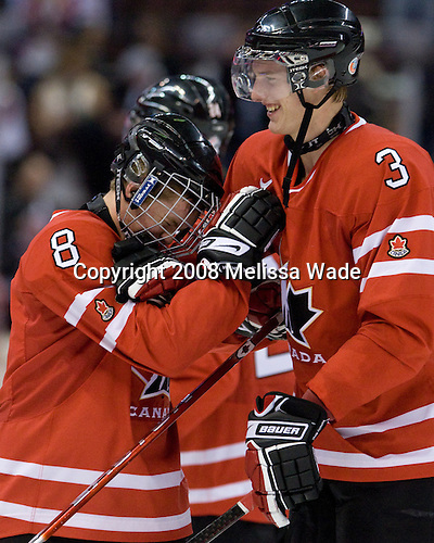 Ryan Ellis (Canada - 8), Tyler Myers (Canada - 3) - Canada defeated the US 7-4 on Wednesday, December 31, 2008, at Scotiabank Place in Kanata (Ottawa), Ontario during the 2009 World Junior Championship.