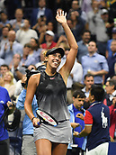 6th September 2017, Flushing Meadowns, New York, USA;  Madison Keys (USA)celebrates winning her quarter-final match at the US Open, on September 06, 2017 at the Billie Jean King National Tennis Center in Flushing, NY.