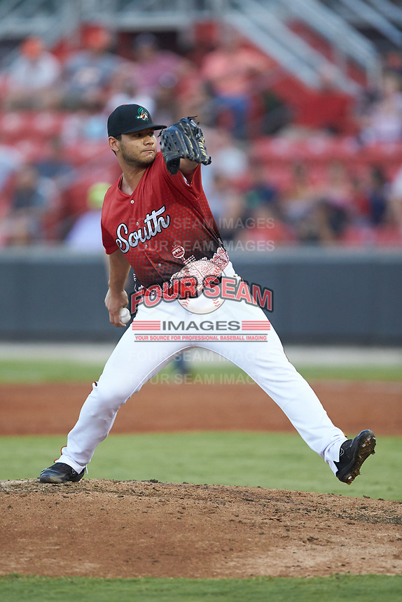 South Division pitcher Edgar Arredondo (46) of the Down East Wood Ducks in action during the 2018 Carolina League All-Star Classic at Five County Stadium on June 19, 2018 in Zebulon, North Carolina. The South All-Stars defeated the North All-Stars 7-6.  (Brian Westerholt/Four Seam Images)