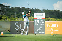 Victor Perez (FRA) on the 17th tee during the 3rd round of the AfrAsia Bank Mauritius Open, Four Seasons Golf Club Mauritius at Anahita, Beau Champ, Mauritius. 01/12/2018<br /> Picture: Golffile | Mark Sampson<br /> <br /> <br /> All photo usage must carry mandatory copyright credit (&copy; Golffile | Mark Sampson)