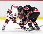 Jillian Dempsey (Harvard - 14), Rachel Llanes (NU - 11) - The Harvard University Crimson defeated the Northeastern University Huskies 1-0 to win the 2010 Beanpot on Tuesday, February 9, 2010, at the Bright Hockey Center in Cambridge, Massachusetts.