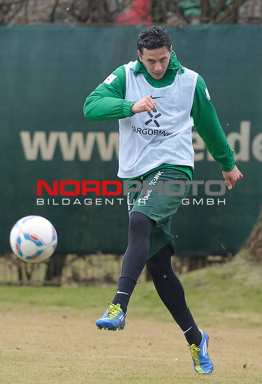 24.02.2012, Trainingsgelaende, Bremen, GER, 1.FBL, Training Werder Bremen, im Bild Claudio Pizarro (Bremen #24)<br /> <br /> // during training session of Werder Bremen on 2012/02/24, Trainingsgelaende, Bremen, Germany.<br /> Foto &copy; nph / Frisch *** Local Caption ***