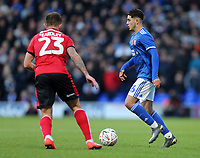Neal Eardley of Lincoln City and Armando Dobra of Ipswich Town during Ipswich Town vs Lincoln City, Emirates FA Cup Football at Portman Road on 9th November 2019