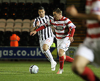 Jon Routledge chased by Lewis Guy in the St Mirren v Hamilton Academical Scottish Communities League Cup match played at St Mirren Park, Paisley on 25.9.12.