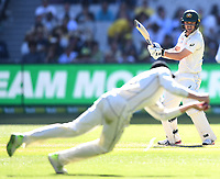 26th December 2019; Melbourne Cricket Ground, Melbourne, Victoria, Australia; International Test Cricket, Australia versus New Zealand, Test 2, Day 1; Travis Head of Australia hits the ball - Editorial Use