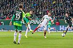 10.02.2019, Weser Stadion, Bremen, GER, 1.FBL, Werder Bremen vs FC Augsburg, <br /> <br /> DFL REGULATIONS PROHIBIT ANY USE OF PHOTOGRAPHS AS IMAGE SEQUENCES AND/OR QUASI-VIDEO.<br /> <br />  im Bild<br /> <br /> Kevin M&ouml;hwald / Moehwald (Werder Bremen #06) zum 4:0 tor <br /> Daniel Baier (FC Augsburg #10)<br /> Sebastian Langkamp (Werder Bremen #15)<br /> r<br /> <br /> Foto &copy; nordphoto / Kokenge
