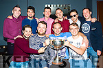 The Cronins Tyres team celebrate after receiving the Premier cup at the Killarney Athletic Seven a side 40th anniversary awards night in McSorleys niteclub on Friday night l-r: Luke Spencer, Brian O'Sullivan, Sean Turner, Ryan O'Riordan. Back row: David Coffey, Michael O'Donoghue, Paddy Daly, Jamie Cunningham, Nathan Spencer and Conor Bernie