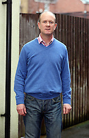 Pictured: Former PC Mike Baillon outside his home in Gwent, south Wales. Thursday 06 February 2014<br /> Re: A police officer who smashed a car window with his baton has been awarded £440,000 in compensation after claiming he was ridiculed out of his job.<br /> PC Mike Baillon, 47, walked out saying that he had become a laughing stock among colleagues.<br /> Footage of him hitting the vehicle belonging to Robert Clive Whatley 15 times was leaked on YouTube.