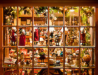 Christmas holiday shop windows, Peddlers Village, Lahaska, Pennsylvania, PA, USA