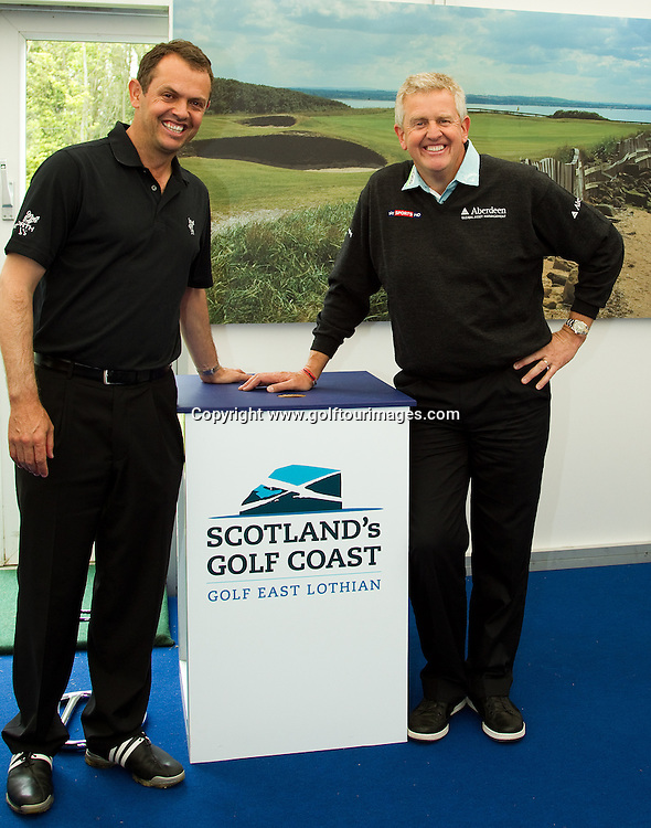 2010 European Ryder Cup Captain, Colin Montgomerie and ex Ryder Cup player, Andrew Coltart visit the Scotland's Golf Coast stand at Golf Live 2012 which took place at The London Club, Brands Hatch, Kent from 18th to 20th May 2012: Picture Stuart Adams www.golftourimages.com: 20th May 2012