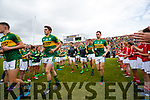 Ronan Shanahan, Donnchadh Walsh, Jack Barry Kerry team takes to the field before the Munster Senior Football Final at Fitzgerald Stadium on Sunday.
