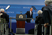 Washington, DC - December 8, 2009 -- United States President Barack Obama walks away after speaking about job creation and economic growth at the Brookings Institution on Tuesday, December 8, 2009 in Washington, DC. President Obama said that he hopes new jobs will be created with the implementation of clean energy investments, small business tax credits and infrastructure funding.  .Credit: Mark Wilson / Pool via CNP