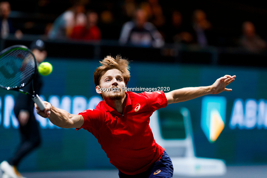 Rotterdam, The Netherlands, 9 Februari 2020, ABNAMRO World Tennis Tournament, Ahoy, Jannik Sinner (ITA), David Goffin (BEL).<br /> Photo: www.tennisimages.com