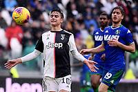 Paulo Dybala of Juventus , Filippo Romagna of US Sassuolo <br /> Torino 1-12-2019 Juventus Stadium <br /> Football Serie A 2019/2020 <br /> Juventus FC - US Sassuolo 2-2 <br /> Photo Federico Tardito / Insidefoto
