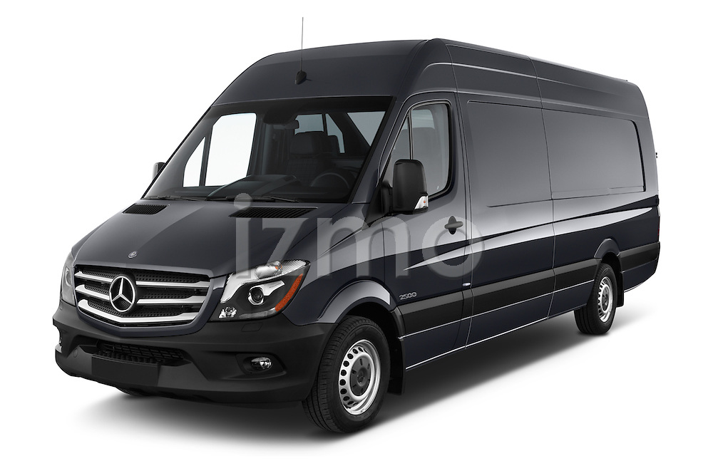 2016 Mercedes Benz Sprinter-Cargo-Van 2500-144-WB-High-Roof 4 Door Cargo Van Angular Front stock photos of front three quarter view