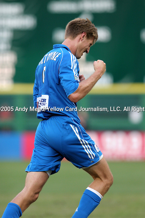 9 July 2005: Sasha Victorine pumps his fist after scoring a goal in the 77th minute. The Kansas City Wizards defeated DC United 1-0 at RFK Stadium in Washington, DC in a regular season Major League Soccer game. .
