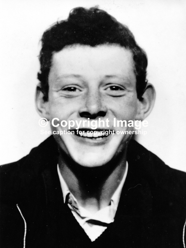 Joseph Taylor, 17 years, Rutherglen Street, Belfast, N Ireland, who was shot dead 12th November 1974 by Provisional IRA gunmen and bombing team who planted a bomb at a garage/petrol station on the city's West Circular Road. Joseph Taylor had just started work at the premises an hour earlier. 197411120615<br /> <br /> Copyright Image from Victor Patterson, 54 Dorchester Park, Belfast, UK, BT9 6RJ<br /> <br /> Tel: +44 28 9066 1296<br /> Mob: +44 7802 353836<br /> Voicemail +44 20 8816 7153<br /> Email: victorpatterson@me.com<br /> Email: victorpatterson@gmail.com<br /> <br /> IMPORTANT: My Terms and Conditions of Business are at www.victorpatterson.com
