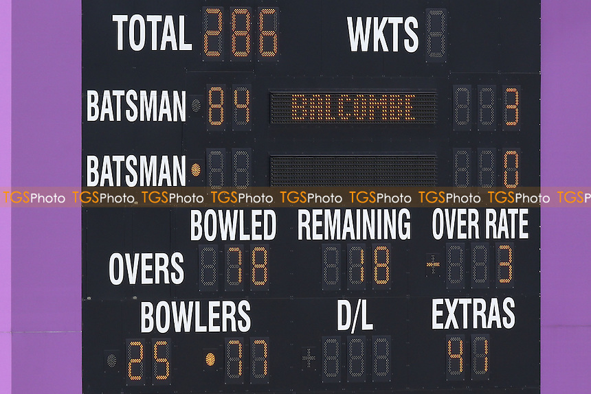 The scoreboard shows that the Essex bowling conceded 41 extras during the first Hampshire innings - Hampshire CCC vs Essex CCC - LV County Championship Division Two Cricket at the Ageas Bowl, West End, Southampton - 15/06/14 - MANDATORY CREDIT: Gavin Ellis/TGSPHOTO - Self billing applies where appropriate - 0845 094 6026 - contact@tgsphoto.co.uk - NO UNPAID USE